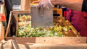 Azjatycki Uliczny jedzenie, Piec na grillu warzywa I mięso Zdjęcie Stock