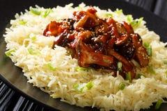 Azjatyckie jarskie karmowe shiitake pieczarki z sezamu i ryż garnirunkiem w górę talerza dalej horyzontalny zdjęcie stock