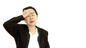 Azjatyckiego kierownika wyższego szczebla biznesowej kobiety wzburzony i nieszczęśliwy abstrakt l zdjęcia royalty free