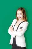 Azjatyckiego piękna damy krzyża jeden biznesowa ręka Zdjęcie Stock