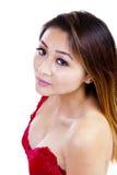 Azjatyckiej Amerykańskiej kobiety Czerwony wierzchołek Pokazuje rozszczepienie obrazy royalty free