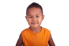 Azjatyckiej chłopiec uśmiechnięty zakończenie uśmiechnięty twarz Obraz Stock
