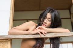 Azjatyckiej kobiety czuciowy smucenie Zdjęcia Stock