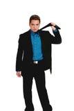 azjatykci biznesmena ciągnięcia krawat Fotografia Royalty Free
