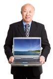 azjatykci biznesmena laptopu senior Fotografia Stock