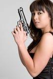 azjatykci dziewczyna pistolet Obrazy Stock