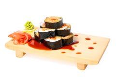 azjatykci jedzenia talerza suszi drewniany Zdjęcie Stock
