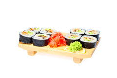 azjatykci jedzenia talerza suszi drewniany Obrazy Royalty Free