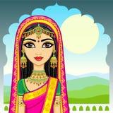 azjatykci piękno Animacja portret młoda Indiańska dziewczyna w tradycyjnym odziewa E ilustracja wektor