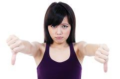 azjatykci puszek pokazywać szyldowych kciuka kobiety potomstwa zdjęcie royalty free