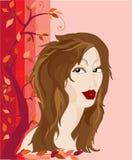 azjatykci tło kwiaty marzycielskiego dziewczyny uroczych drzew wygląda młodo royalty ilustracja
