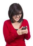 azjatykci telefon komórkowy dziewczyny mienie dosyć Fotografia Royalty Free