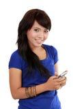 azjatykci telefon komórkowy tekst jej kobieta Obrazy Stock