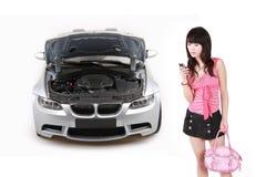 azjatykcia awarii samochodu dziewczyna Zdjęcie Stock