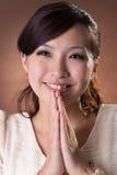 azjatykcia kobieta modlitwa zdjęcia stock