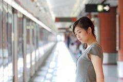 azjatykcia smutna kobieta Zdjęcia Royalty Free