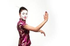 azjatykcia tai chi gejsze poza Zdjęcia Royalty Free