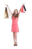 azjatykcich tła toreb piękna mody kobieta folował szczęśliwa mienia radosna damy długość mieszających modela menchii rasy kupując Obrazy Stock