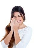 azjatykciego brunetki dziewczyny indyjskiego portreta nieśmiały similing Zdjęcie Royalty Free