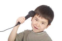 azjatykciej chłopiec śliczni mikrofonu potomstwa Zdjęcie Royalty Free