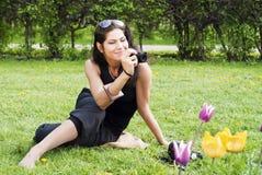 azjatykciej kamery dziewczyny ładny ja target578_0_ zdjęcia stock
