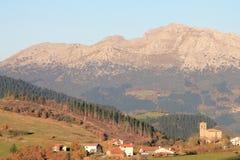 Azkoaga, Aramaio, Basque Country. View of Azkoaga with Mount Udalaitz in the background, in autumn; Aramaio, Araba, Basque Country Royalty Free Stock Photography