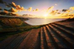 Azkorri beach at sunset Stock Image