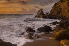 Azkorri-Sonnenuntergang lizenzfreie stockbilder