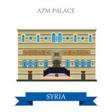 Azm Palace Damascus Syria vector flat attraction travel. Azm Palace in Damascus Syria. Flat cartoon style historic sight showplace attraction web site vector Royalty Free Stock Photos