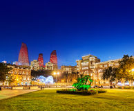 Azneft square during evening hours Stock Photography