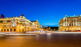 Azneft Square on May 30 in Baku, Azerbaijan. Baku - MAY 30, 2014: Azneft Square on May 30 in Baku, Azerbaijan. Azneft Square is one of the largest squares in Royalty Free Stock Photo