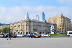 Azneft square on Oilers prospect. Baku, Azerbaijan - November 15, 2014: Azneft square on Oilers  prospect Stock Images