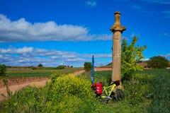Azofra Saint James Way cross column La Rioja Stock Photos