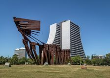 Azoreans Acorianos Monument and Rio Grande do Sul Adminitrative Building - Porto Alegre, Rio Grande do Sul, Brazil. Porto Alegre, Brazil - Jan 19, 2018: Azoreans Royalty Free Stock Image