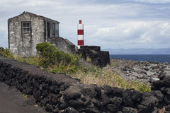 Azoren, view over lighthouse on the island Pico Stock Images