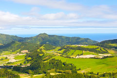 Azores archipelago landscape with ocean on a horizon. Royalty Free Stock Image