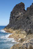 Azores basalt coastline landscape in Sao Jorge. Portugal Royalty Free Stock Images