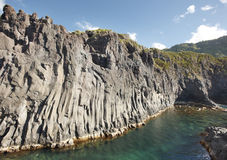 Azores basalt coastline in Sao Jorge. Faja do Ouvidor. Portugal Royalty Free Stock Photos