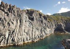 Azores basalt coastline in Sao Jorge. Faja do Ouvidor. Portugal. Horizontal Royalty Free Stock Photos