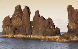 Azores bazaltowa linia brzegowa w Sao Jorge Faja robi Ouvidor Portugalia fotografia royalty free