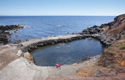 Azores coastline landscape with natural pool in Topo. Sao Jorge Stock Photos