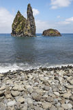 Azores coastline landscape with pebble beach in Flores island. P Stock Photo