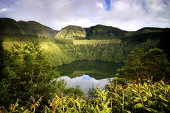 Azores: Green island. Lagoa de Santiago crater lake near Sete Cidades and Lagoa Azul crater lake in São Miguel island in Azores royalty free stock images