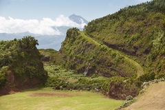 Azores green landscape in Sao Jorge and Pico island. Portugal Stock Photos