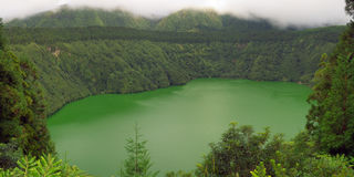 Azores, The green Santiago Lagoon under clouds
