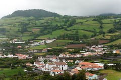 Azores green volcanic island Portugal landscape village houses Royalty Free Stock Image