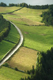 Azores Island landscape and curvy and windy roads stock photo