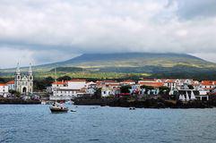 Azores islands. Little harbor and village at Pico island, Azores Stock Photos