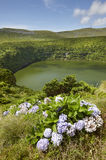 Azores kształtują teren z jeziorem w Flores wyspie Caldeira Funda Pora fotografia royalty free