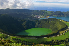 Azores Lagoon. The Santiago Lagoon, and the Blue Lagoon behind, at Sete Cidades, Azores, San Miguel, Portugal Royalty Free Stock Image
